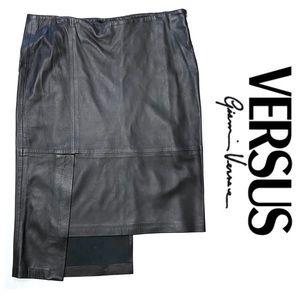 Vintage Y2K Versus Gianni Versace Leather Skirt